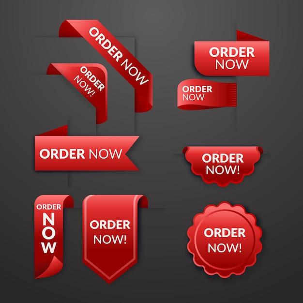 Czerwone Naklejki Zamówienia Teraz Promocja Premium Wektorów