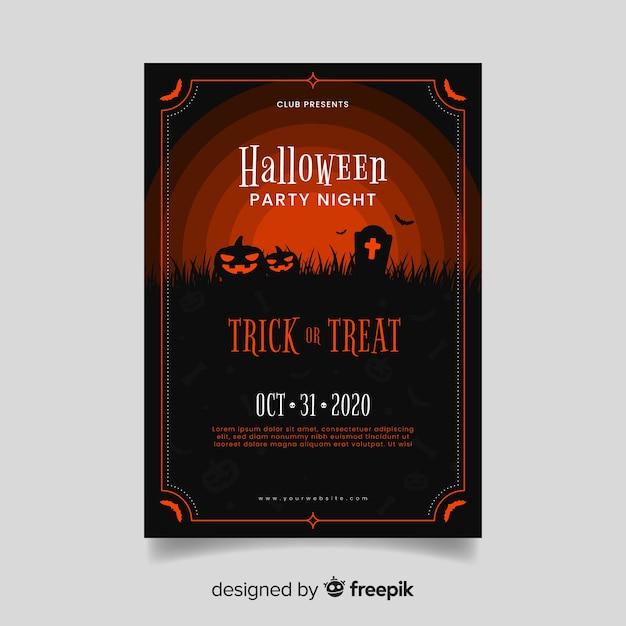 Czerwone Odcienie Dyni Zombie Halloween Party Plakat Darmowych Wektorów