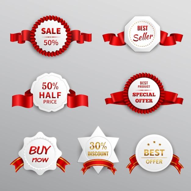 Czerwone papierowe etykiety sprzedażowe Darmowych Wektorów