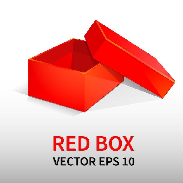 Czerwone pudełko z pokrywką. na prezenty, banery projektowe, broszury, ulotki. Premium Wektorów
