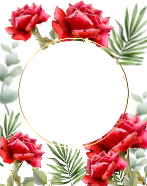 Czerwone Róże Pozdrowienie Akwarela. Vintage Rama Kwiatowy Wystrój. Egzotyczny Tło Opuszcza Ilustrację Premium Wektorów