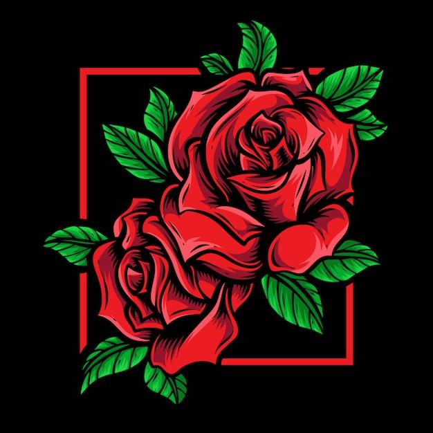 Czerwone Róże Wektor Logo Ornament Premium Wektorów