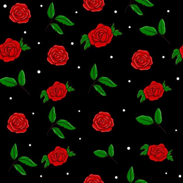 Czerwone róże wektor wzór bez szwu w kolorze czarnym. tapeta Premium Wektorów