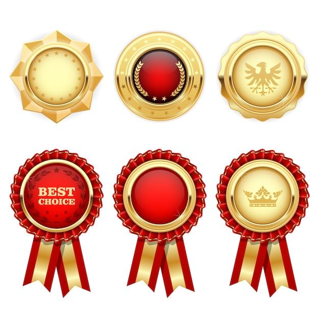 Czerwone Rozety Oraz Złote Medale I Insygnia Heraldyczne Premium Wektorów