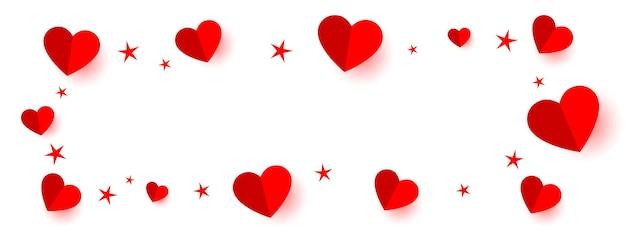 Czerwone Serca I Gwiazdy Ramki Transparent Z Miejsca Na Tekst Darmowych Wektorów