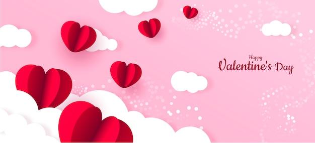 Czerwone Serce Papieru Walentynki Transparent Tło Premium Wektorów