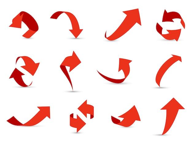 Czerwone Strzałki 3d Zestaw. Wzrost Strzałek Finansowych Zmniejsza Inną ścieżkę Informacyjną W Górę W Dół Do Następnej Kolekcji Kursorów W Kierunku Interfejsu Premium Wektorów