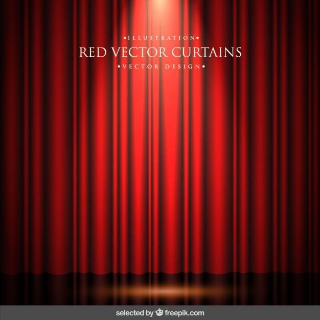 Czerwone zasłony w tle Darmowych Wektorów