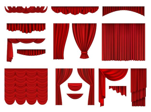 Czerwone Zasłony. Tekstylne Teatralne Sceny Operowe Dekoracje Zasłony Realistyczny Zestaw Kolekcji. Premium Wektorów
