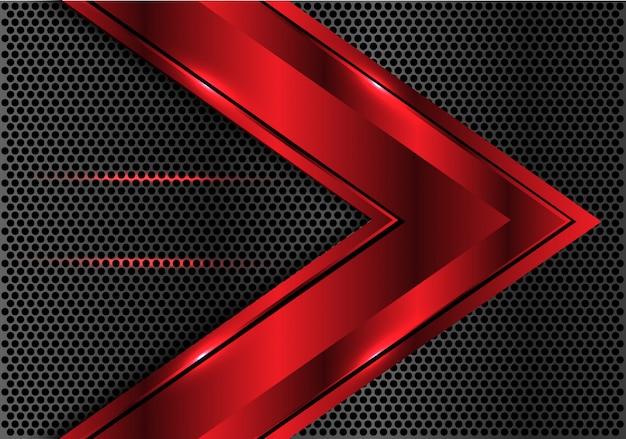 Czerwonego kruszcowego strzałkowatego kierunku ciemnego okręgu siatki tło. Premium Wektorów
