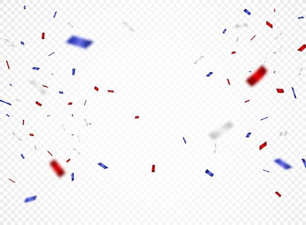 Czerwoni I Błękitni Confetti, Odizolowywający Na Przejrzystym Premium Wektorów