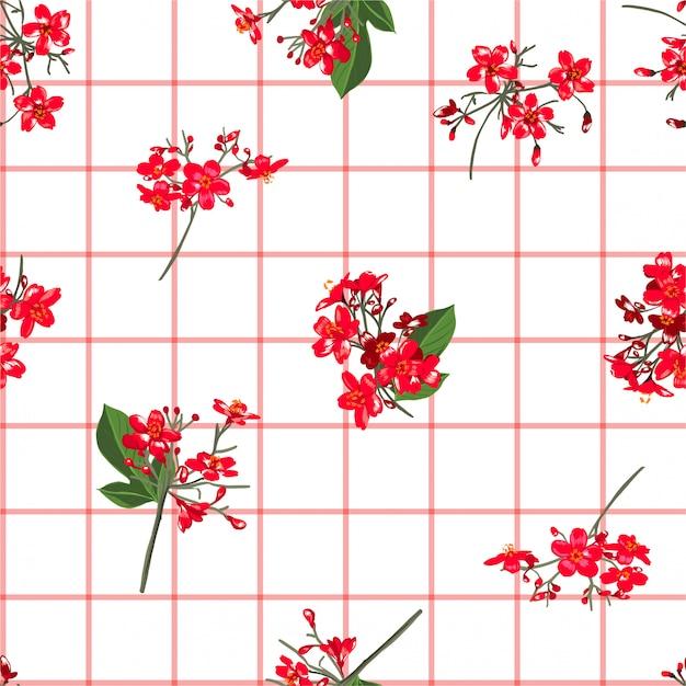 Czerwoni Kwitnący Ogrodowi Kwiaty Na Ręka Rysującym Nadokiennym Czeku Lub Siatki Rozpraszają Bezszwowego Deseniowego Wektorowego Rozpraszają Dla Mody, Tkanina Premium Wektorów