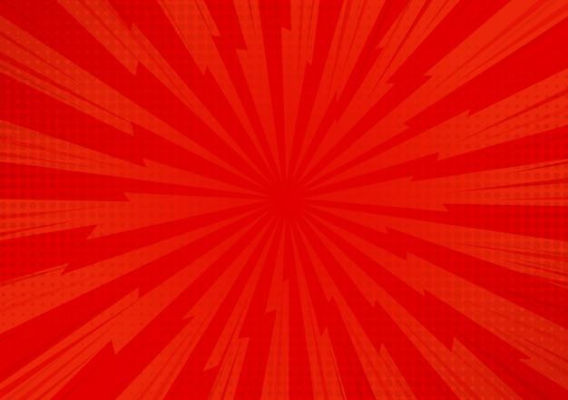 Czerwony abstrakcjonistyczny komiczny kreskówki światła słonecznego tło. Premium Wektorów
