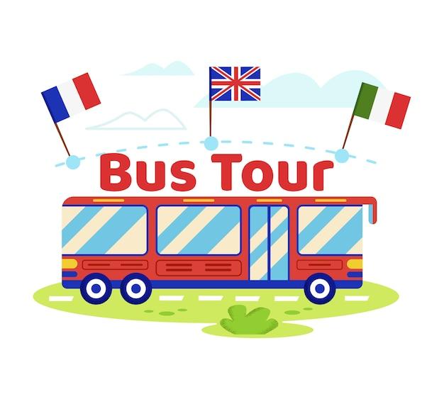 Czerwony autobus turystyczny z włoskimi, angielskimi, francuskimi flagami Premium Wektorów