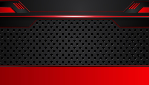 Czerwony czarny abstrakcjonistyczny kruszcowy ramowy układ projekta techniki innowaci tło. Premium Wektorów