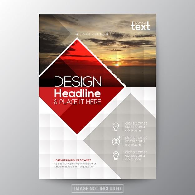 Czerwony diament kształtu grafiki broszura roczne pokrycie raportu ulotka projekt plakatu szablon układu Darmowych Wektorów