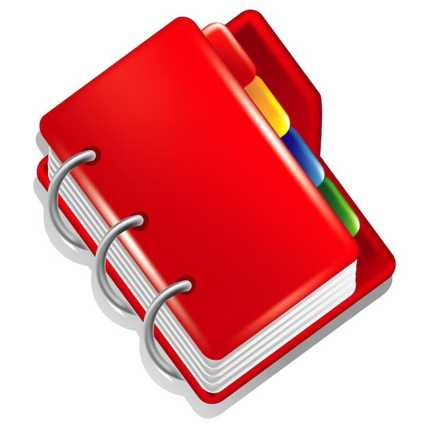 Czerwony Folder Z Kolorowymi Zakładkami Premium Wektorów