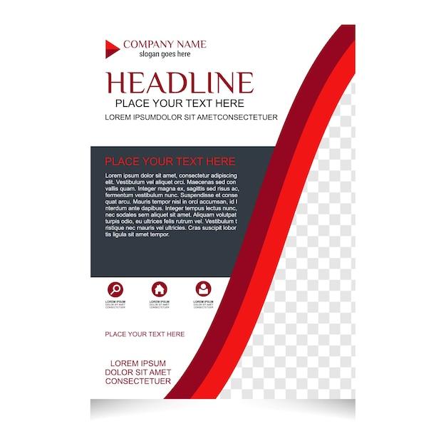 Czerwony I Biały Projekt Ulotki Broszury Układ Szablonu Premium Wektorów