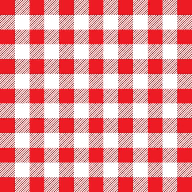 Czerwony i biały wzór bawełniany materiał w kratkę Darmowych Wektorów