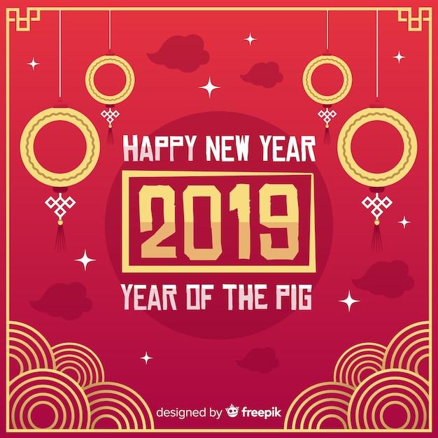 Czerwony i złoty chiński nowego roku 2019 tło Darmowych Wektorów