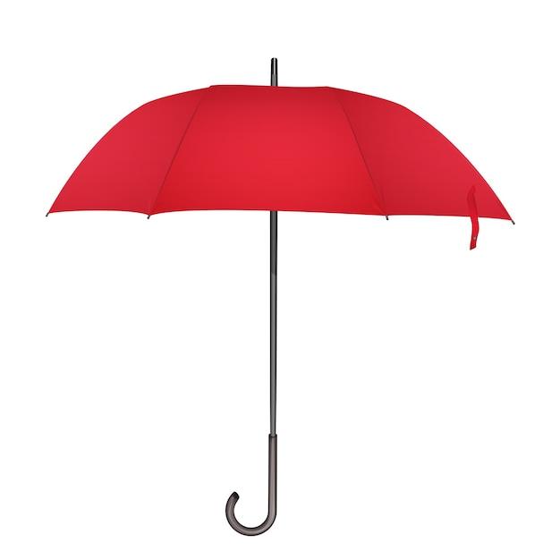 Czerwony Klasyczny Parasol Przeciwdeszczowy. Zdjęcie Realistyczne Elegancki Parasol Ikona Ilustracja Premium Wektorów