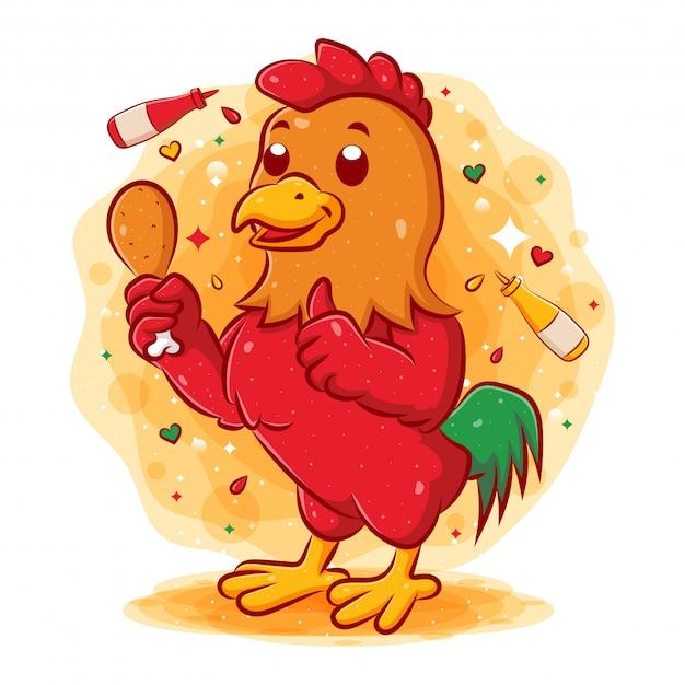 Czerwony Kogut Trzyma Pieczonego Kurczaka I Daje Aprobatom Premium Wektorów