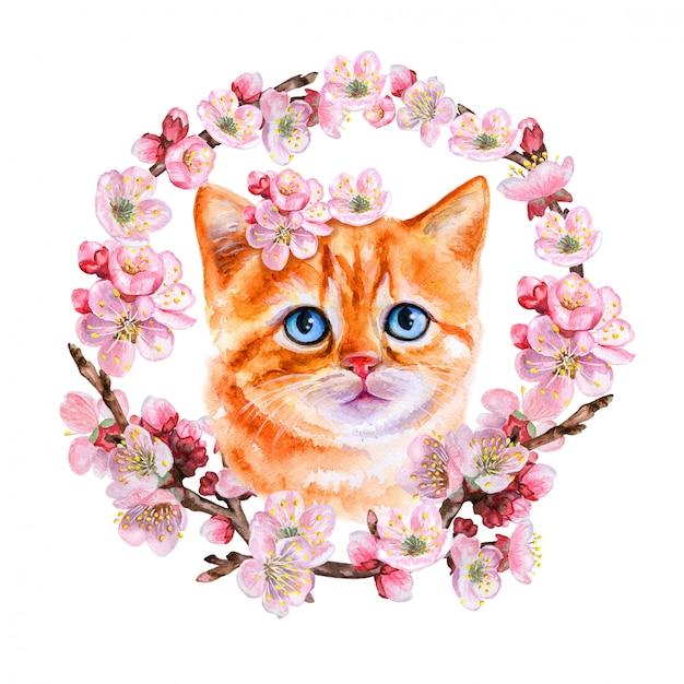 Czerwony kotek w wieniec kwitnienia, ozdoba Premium Wektorów