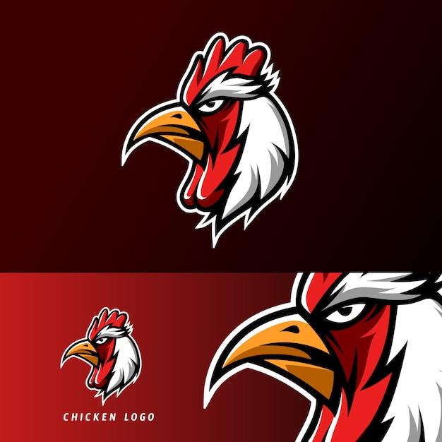 Czerwony kurczak pieczenia maskotka sport logo e-sport szablon Premium Wektorów
