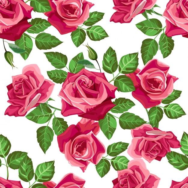 Czerwony kwiat róży wzór - wektor Premium Wektorów