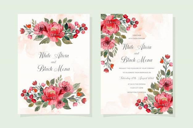 Czerwony Kwiatowy Akwarela Karta Zaproszenie Na ślub Premium Wektorów