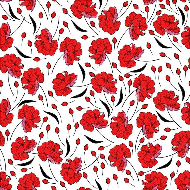Czerwony Kwitnący Kwiatki. Motywy Botaniczne Rozrzucone Losowo. Tekstura Wzór. Premium Wektorów