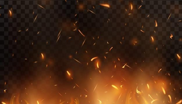 Czerwony Ogień Iskrzy W Górę. Palenie świecących Cząstek. Płomień Ognia Z Iskrami W Powietrzu W Ciemną Noc. Tekstura Firestorm. Pojedynczo Na Czarnym Przezroczystym Tle Premium Wektorów