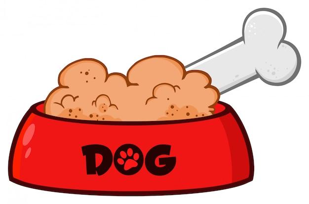 Czerwony Pies Miski Z Karmą Dla Zwierząt I Kości Rysunek Prosty Projekt Premium Wektorów