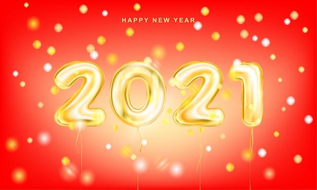 Czerwony Plakat Z Napisem Złoty Nowy Rok 2021 Z Konfetti Premium Wektorów