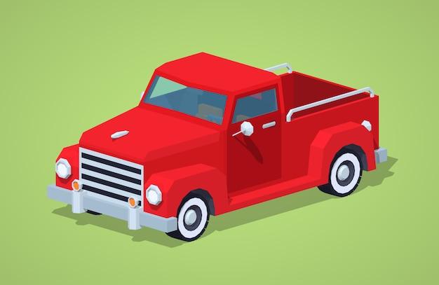 Czerwony Retro Izometryczny Pickup 3d Premium Wektorów