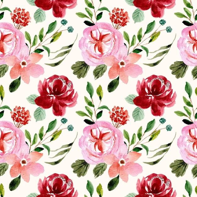 Czerwony Różowy Kwiatowy Ogród Akwarela Bezszwowe Wzór Premium Wektorów