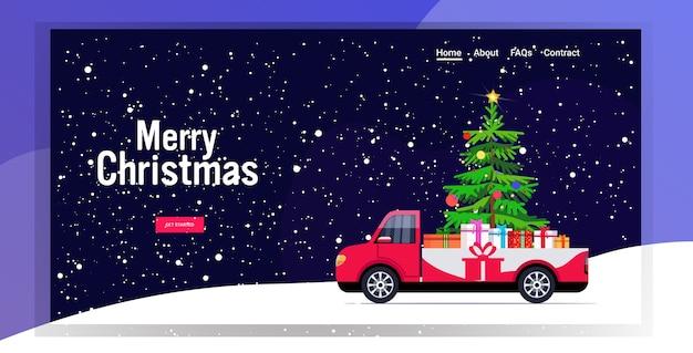 Czerwony Samochód Dostawczy Z Jodłą I Prezentem Pudełka Wesołych świąt Szczęśliwego Nowego Roku Ferie Zimowe Premium Wektorów
