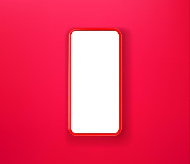 Czerwony Smartfon Na Czerwonym Tle Premium Wektorów