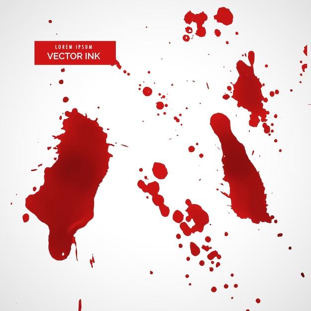 Czerwony splatter atramentu lub zestaw tekstur plamy krwi Darmowych Wektorów