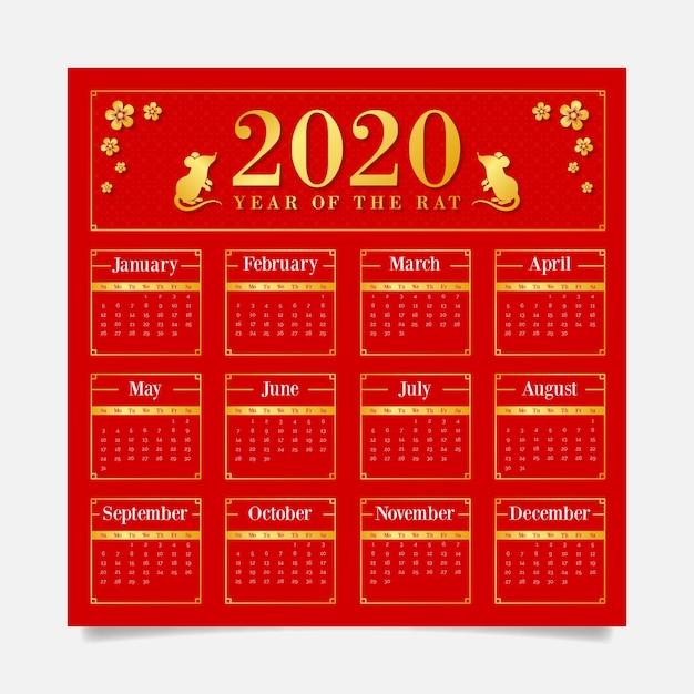 Czerwony tło kalendarz z złotymi symbolami dla chińskiego nowego roku Darmowych Wektorów