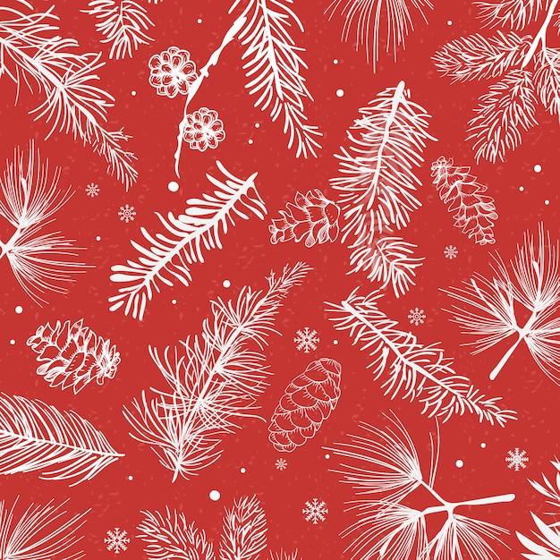Czerwony tło z zima dekoraci wektorem Darmowych Wektorów