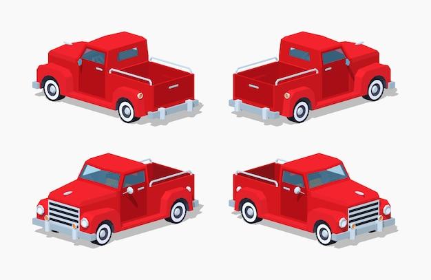 Czerwony Trójwymiarowy Izometryczny Pickup Retro 3d Premium Wektorów