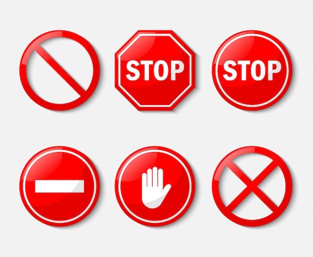 Czerwony Znak Stopu. Zestaw Ikon Bez Znaku Na Białym Tle Premium Wektorów