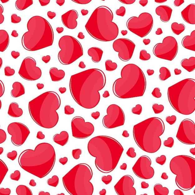 Czerwonych Serc Bezszwowy Wzór Na Bielu Premium Wektorów