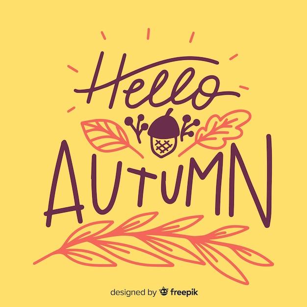 Cześć jesień literowanie tło z liśćmi Darmowych Wektorów
