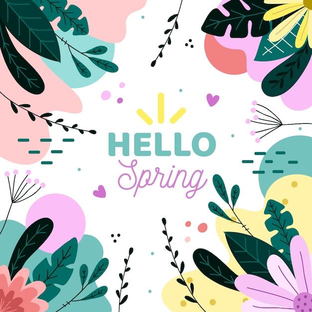 Cześć Wiosna Memphis Tło Darmowych Wektorów