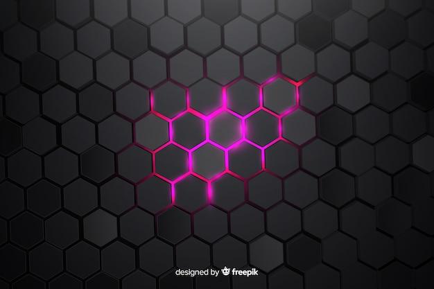 Częściowo oświetlone technologiczne tło o strukturze plastra miodu Darmowych Wektorów