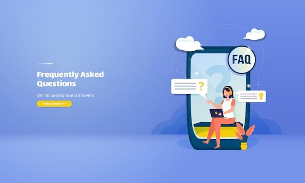 Często Zadawane Pytania Lub Koncepcja Faq Z Ilustracją Pytań I Odpowiedzi Online Premium Wektorów