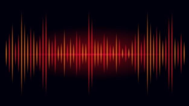 Częstotliwość w kolorze czerwonym i pomarańczowym fali dźwiękowej na czarnym tle. ilustracja na temat wizualnego dźwięku. Premium Wektorów