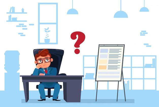 Człowiek biznesu usiąść przy biurku zastanawiając się i myśląc Premium Wektorów